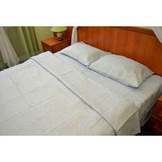 Постельное бельё из льна серый - двуспальный- натуральный цвет