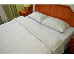 Постельное бельё из льна серый - двуспальный - натуральный цвет