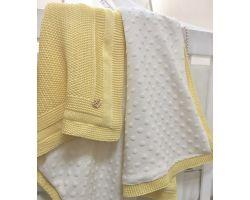 """Детский плед одеяло вязанный """"Рогожка"""" желтый, в коляску, люльку 80х100 см"""
