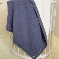 "Детский плед одеяло ""Рогожка"" Рогожка в коляску, люльку 80х100 см синий"