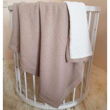 """Детский плед одеяло """"Рогожка"""" Рогожка в коляску, люльку 80х100 см коричневый"""