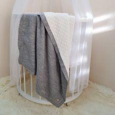 """Детский плед одеяло """"Рогожка"""" в коляску, люльку 80х100 см светло серый"""