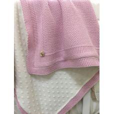 """Детский плед одеяло """"Рогожка"""" Рогожка в коляску, люльку 80х100 см розовый"""
