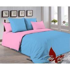"""Однотонное постельное белье """"Голубой с розовым"""" поплин 4225(2311)"""